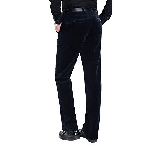 SwissWell Homme Pantalon en Velours Côtelé Coupe Droite Tissu Confortable Pantalon Elastique Casual pour l'Automne Hiver, Bleu, 39