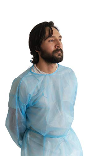 120 pieces Disposal Protective Isolation Gown - Blue. Latex Free,Non-Woven, Fluid Resistant,ONE Size FITS All 120 Pcs