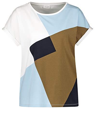 Gerry Weber Damen Shirt Mit Patchmuster Figurumspielend Ecru/Blau/Khaki Druck 48