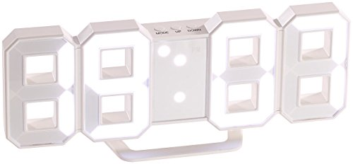 Lunartec 3D LED Wanduhr: Große Digital-LED-Tisch- & Wanduhr, 7 Segmente, dimmbar, Wecker, 21 cm (Countdown Uhr)