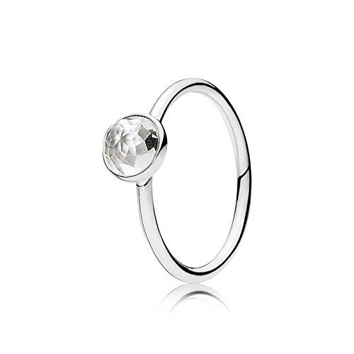 Pandora - Anillo Pandora plata cristal roca mes abril