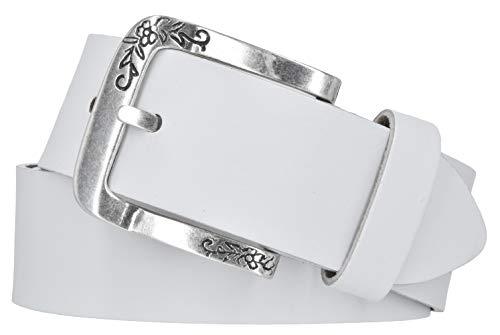 Mytem-Gear Damen Gürtel Leder Belt Ledergürtel Rindleder 40 mm Damengürtel kürzbar (95 cm, Weiß)