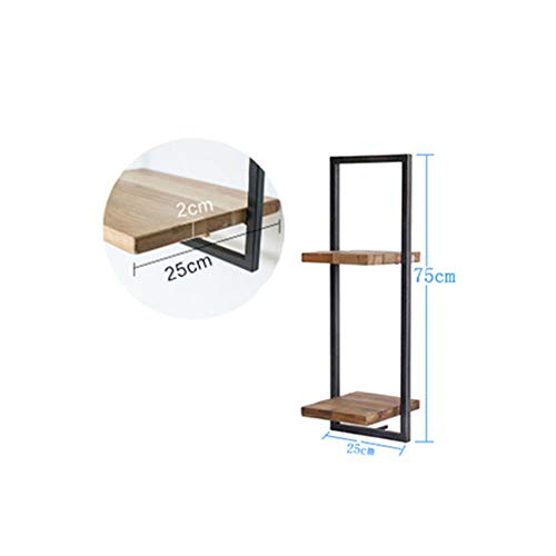 YEYE Drijvende Wandplanken, Retro Muur Gemonteerd Hout Opslag Planken Metalen Ondersteuning Planken Voor Woonkamer Slaapkamer Wandplank 25x25x75cm(10x10x30inch) B