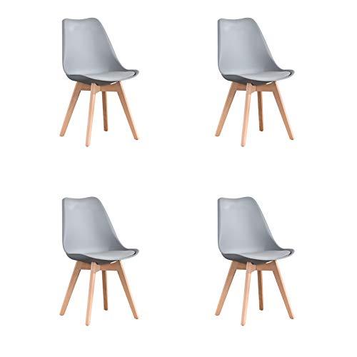 WV LeisureMaster 4er Set Esszimmerstühle mit Massivholz Buche Bein, Retro Design Gepolsterter lStuhl Küchenstuhl Holz, Grau