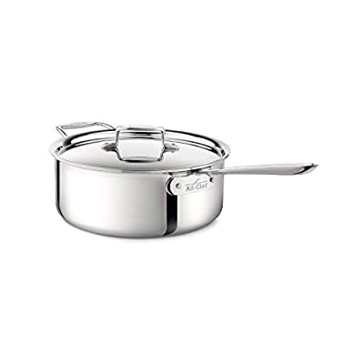 All-Clad 4206 Stainless Steel Tri-Ply Bonded Dishwasher Safe Deep Saute Pan with Lid / Cookware, 6-Quart, Silver