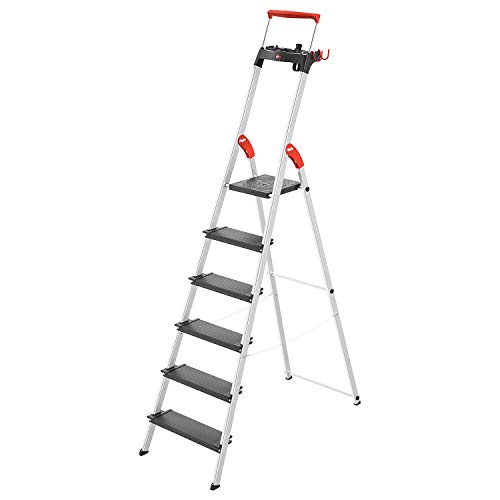 Hailo L100 TopLine Alu-Sicherheits-Stehleiter | 6 XXL-Stufen bis 150 kg | Stehleiter mit ausziehbarem Haltebügel, Plattformverriegelung | viel Zubehör | klappbare Aluleiter made in Germany | schwarz