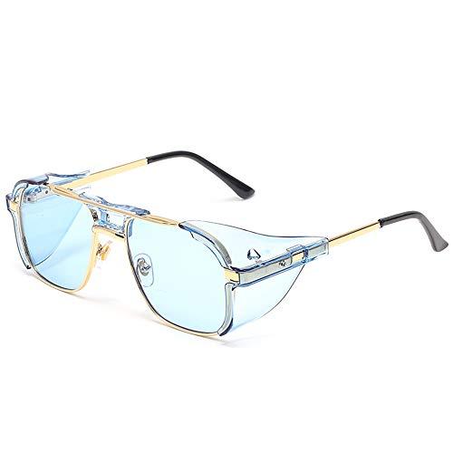 SHEEN KELLY Retro Gothic Steampunk Sonnenbrille für Frauen Männer quadratische Linse Metallrahmen Sonnenbrille John Lennon quadratische Sonnenbrille