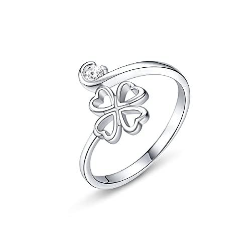 FOREVER QUEEN Anello quadrifoglio Anello regolabile a fascia aperta Anello in argento sterling 925 Anelli di buona fortuna per le donne
