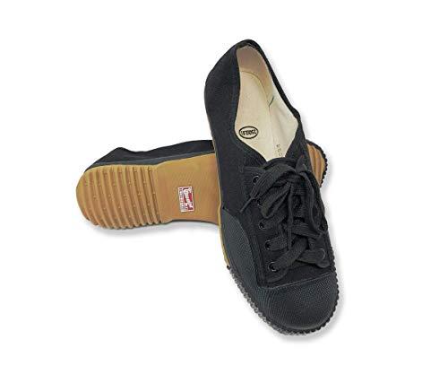 Warrior Canvas Shoes, Shaolin Kungfu Martial Arts Parkour Rubber Sole Sneakers for Men Women Kids (Pure Black, Men7/ Woman 8.5 / EUR39 / (245))