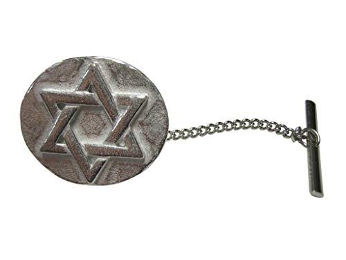 Kiola Designs Silver Toned Round Jewish Religious Star of David Tie Tack