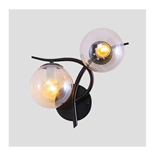Nachtlampje wandlamp, wandlamp in Scandinavische stijl, zwarte bol van smeedijzer, woonkamer decoratie, slaapkamer, leeslamp naast het bed eetkamer hotel