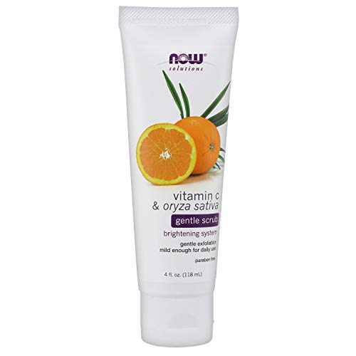 NOW Solutions, Vitamin C and Oryza Sativa Gentle Scrub, Brightening System, Gentle Mild Exfoliation for Daily Use 4-Ounce