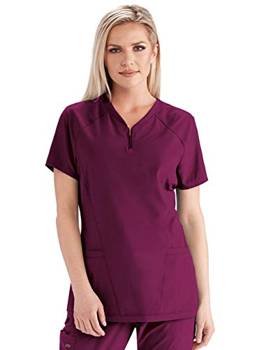 BARCO One Women s Two Pocket Zip V-Neck Perforated Raglan Scrub Top Wine S