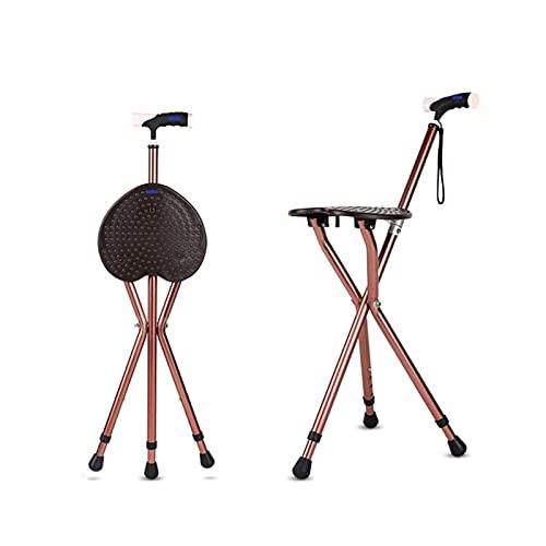 Asiento de caña plegable, silla de muleta ajustable de altura con luz LED, asiento de aleación de aleación de aluminio antideslizante para personas mayores, discapacitados mayores, base antideslizante