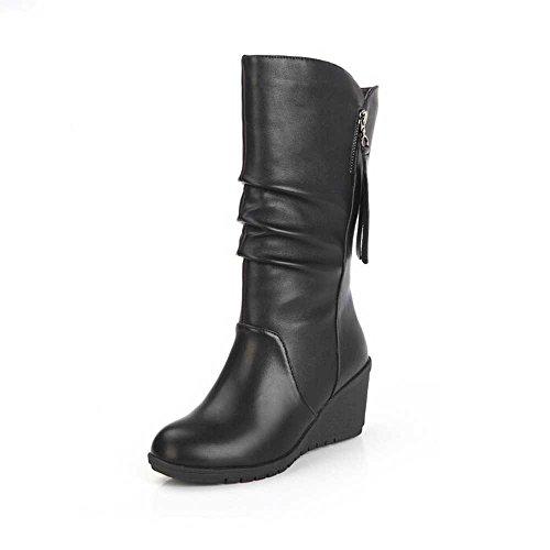 MRULIC Damen Winter Wärme Schuhe Wedges Keilabsatz Stiefeletten Zipper Absatz Stiefel Boots Halbschaftstiefel Schlupfstiefel Moderne High Heels(Schwarz,39 EU)