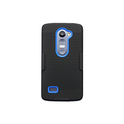 Asmyna Phone Case for LG C40 LG Tribute Duo LG RISIO - Retail Packaging - Black/Blue