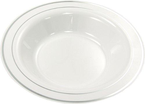 MOZAIK 20 platos hondos de plástico de 23cm en color blanco con el borde plateado