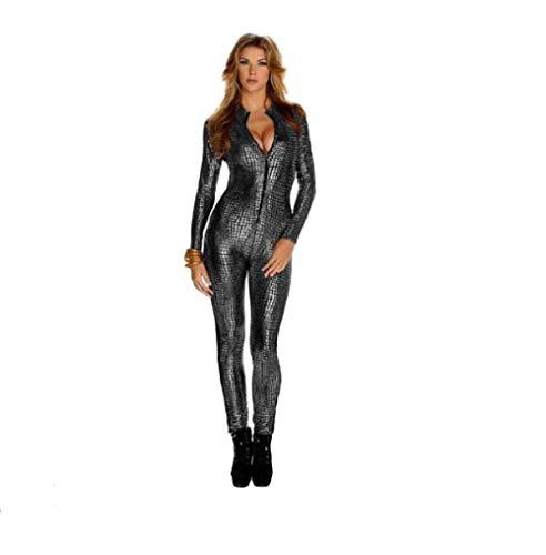 Top Totty - Atractivo mono de látex para mujer, 3 colores, traje completo, súper mujer, cosplay, disfraz de látex, aspecto mojado, piel de serpiente plata L