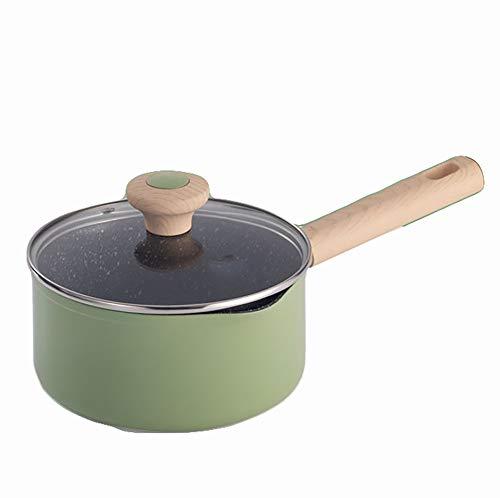 Cacerola, ollas, juego de sartenes de inducción, sartenes, adecuado para todo tipo de estufas de cocina, juegos de ollas y sartenes de 16 cm, verde-16CM