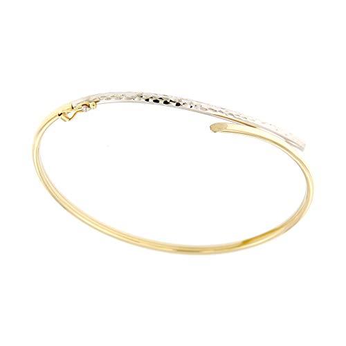 Lucchetta Schmuck - 9 Karat Damenarmband aus Weißgold und Gelbgold, Bicolor Gold 375 Armreif 19 cm für Mädchen und Damen