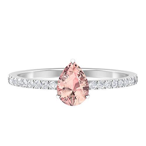 1 CT Lab Erstellt Morganit Ring, HI-SI Diamant-Verlobungsring, 5x7 mm Birnenschliff, Verlobungsring in Tropfenform, Seitenring, 14K Weißes Gold, Size:EU 54