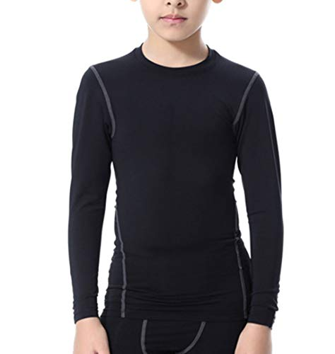 LANBAOSI Boys&Girls Long Sleeve Compression Soccer Practice Shirts 7 Black