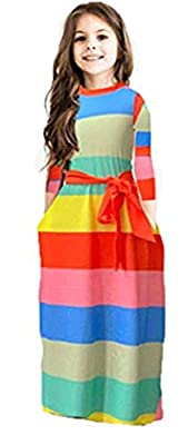 Miss Bei Girl's Summer Short Sleeve Stripe Holiday Dress Maxi Dress with Pocket Size 0-11T£¬Long Sleeve has Arrived 3-16T Long Sleeve Stripe orange150