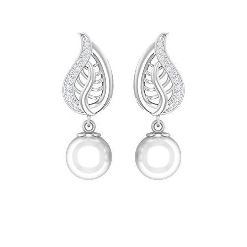 Rosec Jewels 10 quilates oro blanco redonda round-brilliant-shape H-I White Diamond Perla de agua dulce