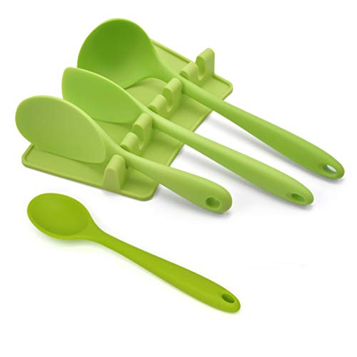 Nonstick Kitchen Utensil with Rest Set of 5, KSENDALO Silicone Spoonula Spoon Rice Spoon Soup Spoon Mini Spoon with Rest Holder, Eco-friendly/Heat Resistant/Nonstick Hygienic One Piece Design, Green