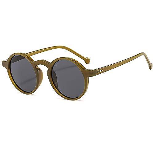 XINMAN Gafas De Sol De Montura Redonda Retro Moda Gafas De Sol A Prueba De Viento De Todo Fósforo Gafas De Sol De Tendencia De Personalidad Jalea Verde-Gris