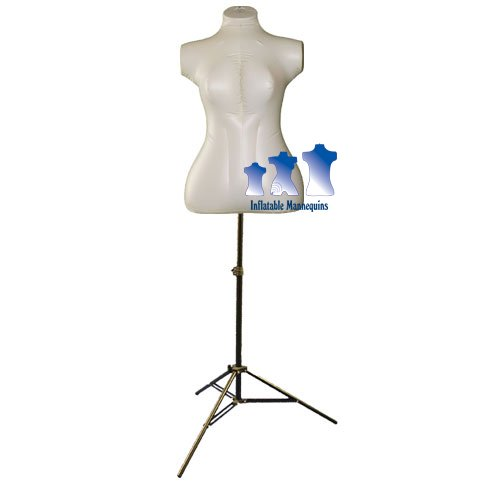 Inflatable Female Torso, Plus Size, with MS12 Stand, Ivory