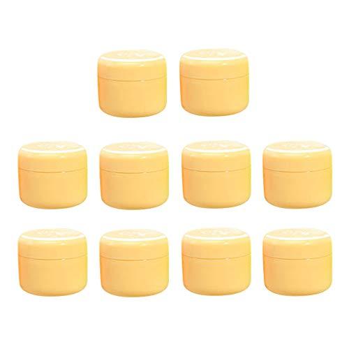Homyl 10 pièces Pot Vide Cosmétique en Plastique Récipient Cosmétique pour Stockage Boîte de Crèmes Onguents Toners avec Couvercle - Jaune-100g