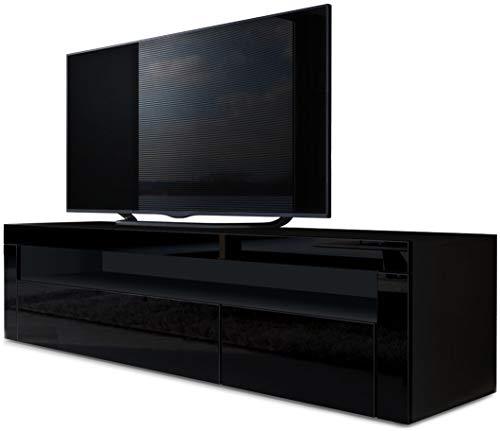 Vladon TV Board Lowboard Valencia, Korpus in Schwarz matt/Front in Schwarz Hochglanz mit Rahmen in Schwarz Hochglanz