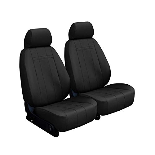 Front Seats: ShearComfort Custom Imitation Leather Seat Covers for Honda Element (2003-2006) in Black for Buckets w/Driver Side Arm and Adjustable Headrests