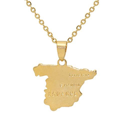 Fusamk Hip Hop 18 K aleación España Mapa Etiqueta Colgante Collar con Cadena Dorado