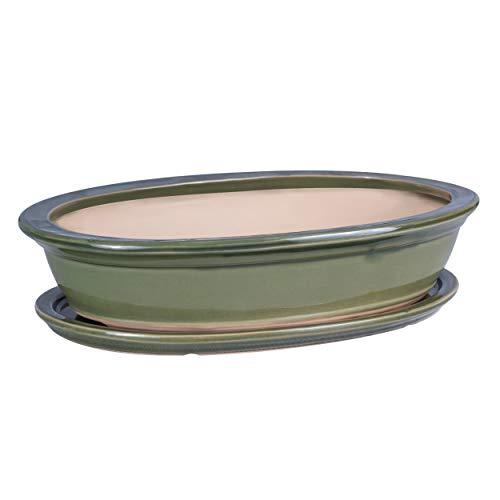 botle Bonsai Schale Baum Mini Garten Keramik Ton Blumentopf Blumenschale Untersetzer grün Größen (32)