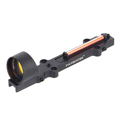 FOCUHUNTER 1x28mm Fibre Optique Rouge/Verte visée de Fusil à Point holographique Fusil de Chasse pour Les Sports de Plein air Mire Tactique à Point Rouge/Vert 3MOA (Rouge)