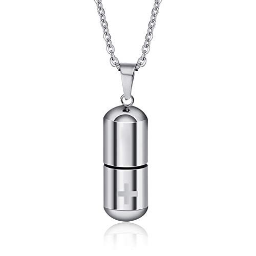 MINO Fashion Stainless Steel Pill Perfume Bottle Laser Cross Pendant Silver Chain Necklace Best Gifts to Sisters/Brothers-Silver Color