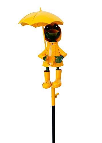 Amicaso Regenmesser Frosch mit Schirm und Regenjacke Niederschlagsmesser Gartendeko Metall Wetterstation