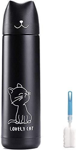 11/17oz Frasco de acero al vacío,botella agua de dibujos animados gato lindo,tazacafé viaje, regalo para amantes de los gatos (Black(17oz))