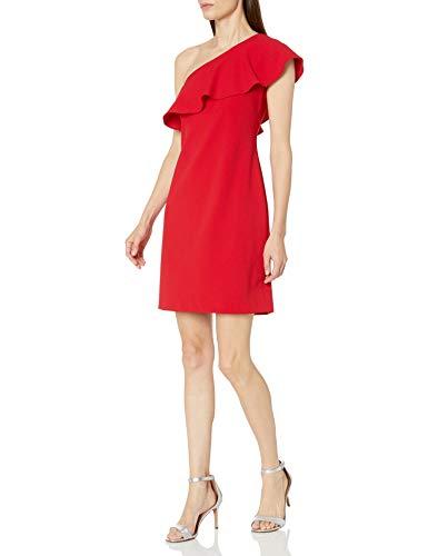 Julia Jordan Damen One Shoulder Ruffle Dress Cocktailkleid, rot, 40