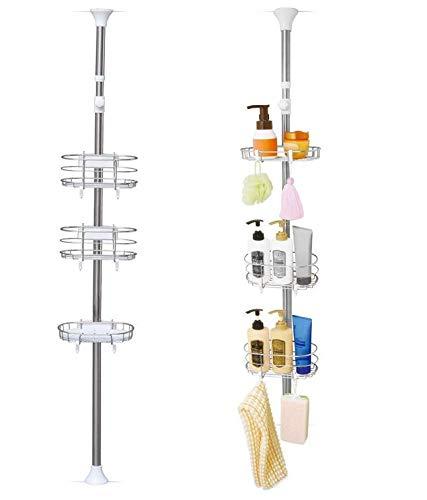 Iris Ohyama, Etagère d'angle téléscopique pour la baignoire sans perçage avec 3 paniers - 140 à 190 cm - Telescopik Rack BLT-19 - Blanc, 22 x 17,8 x 140-190 cm