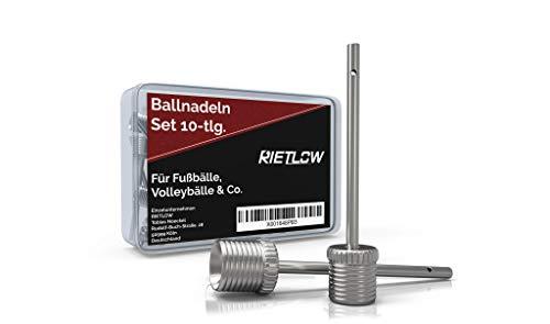 Rietlow 10er Ballnadel Set – Ballpumpe Nadeln aus robustem und widerstandsfähigem Edelstahl – Nadel Ballpumpe inkl. praktischer Aufbewahrungsbox