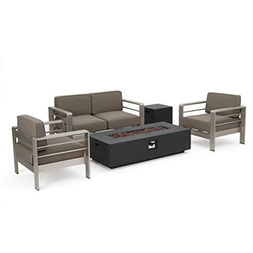 Christopher Knight Home Crested Bay Patio Furniture ~ Outdoor Aluminum Sectional Sofa Set with Dark Grey Fire Table