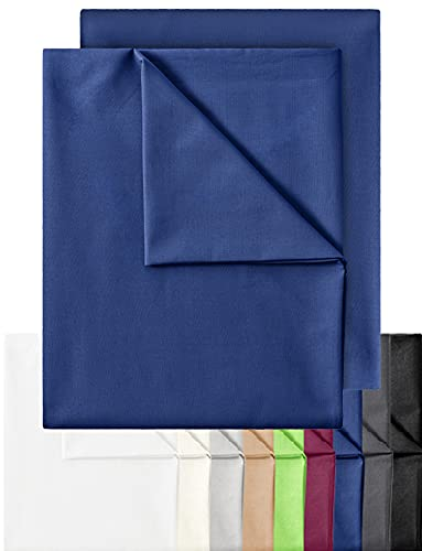 GREEN MARK Textilien 2er Pack Klassische Bettlaken Betttuch Laken Leintuch Haustuch 100{a1b554fc364680a06686f87ad6e0a829a875c7e5ec91cbc173eb06e701d29b0e} Baumwolle ohne Gummizug vielen Größen und Farben Größe: 150x250 cm, Navy blau