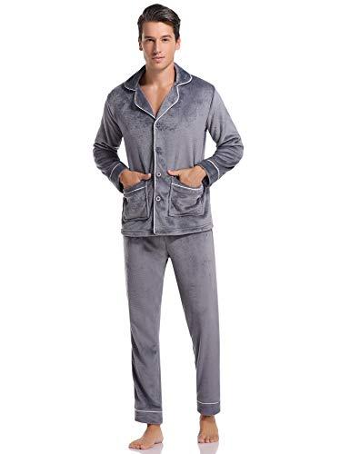 Aibrou Herren Fleece Pyjama Schlafanzug Lang Zweiteilige Nachtwäsche Hausanzug Sleepwear aus Flanell Grau S
