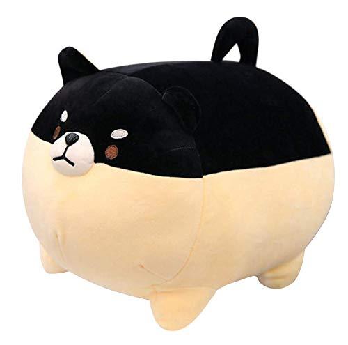 Auspicious beginning Peluche de peluche Shiba Inu Anime Corgi Kawaii de peluche de perro suave almohada, juguete de peluche regalos para niños niñas (negro, 15.7 pulgadas)