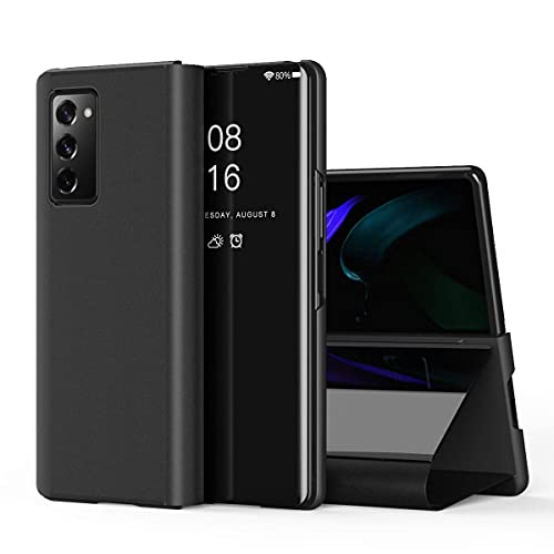 Indiacase Mirror Flip Case Compatible with Oneplus Nord CE 5G Protective Leather Flip Kickstand Case Cover for Oneplus Nord CE 5G S-Black Mirror Flip Transparent View