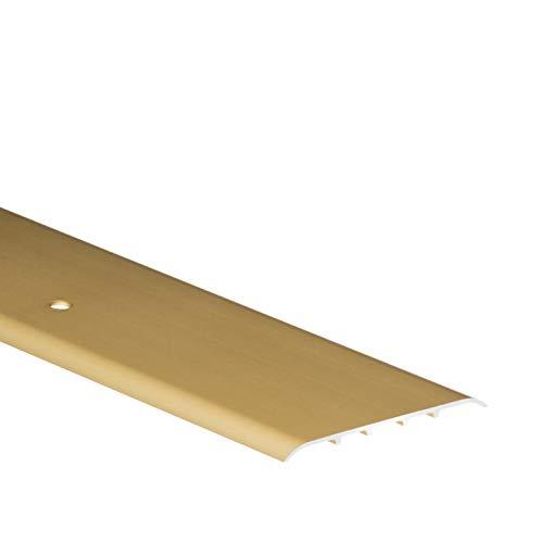 Aluminium-Schutzleiste 1 meter, Breit 80mm, Türschwelle, Übergangsprofil Flach oval, Übergangsschiene mit Befestigungsstifte, Gold – CEZAR