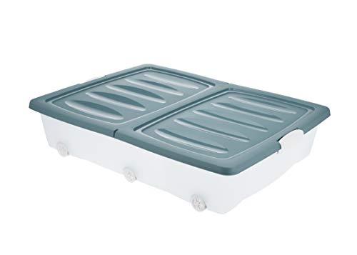 BigDean Unterbettkommode Blau 60l Rollbox Räder Unterbettbox Spielzeugkiste